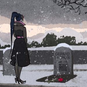 Роковая вдова посещает могилу своего мужа.