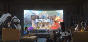 Трейсер и компания смотрят объявление Blizzard World